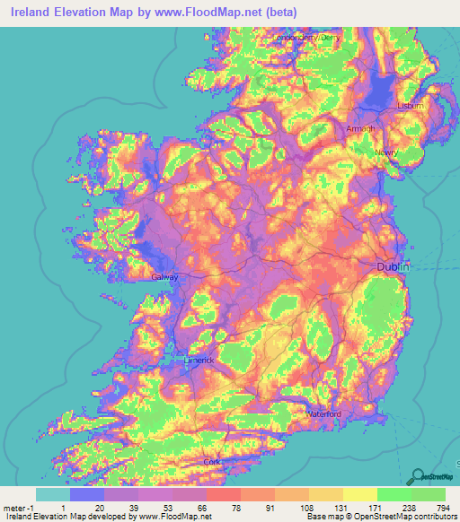 Map Of Ireland With Towns.Ireland Elevation And Elevation Maps Of Cities Topographic Map Contour