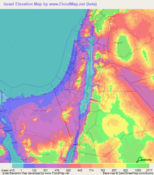 Israel Elevation and Elevation Maps of Cities, Topographic ... on