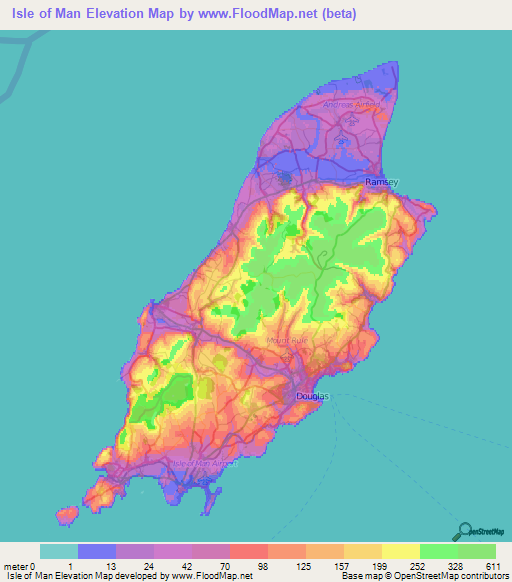 Isle Of Man Elevation And Elevation Maps Of Cities Topographic - Isle of man map