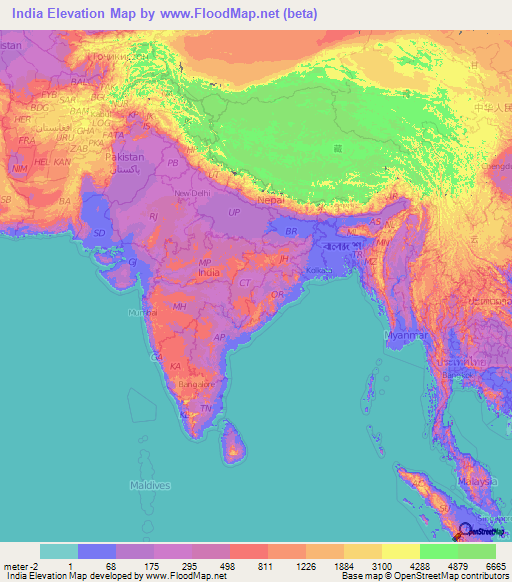 India Elevation And Elevation Maps Of Cities Topographic Map Contour - Map showing altitude