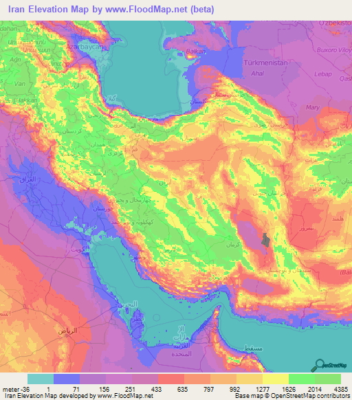 iran elevation map iran elevation map