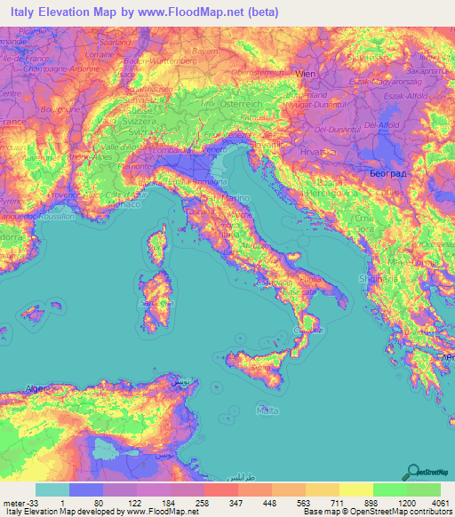Italy Elevation And Elevation Maps Of Cities Topographic Map Contour - Ground elevation map