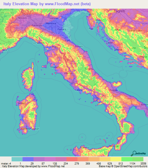 Map Of Towns In Italy.Italy Elevation And Elevation Maps Of Cities Topographic Map Contour