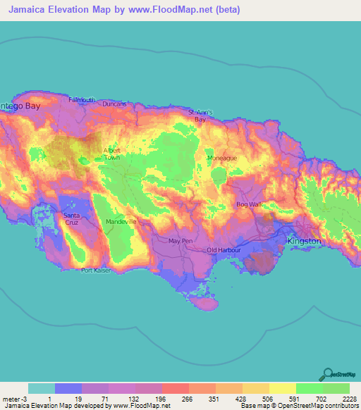 Jamaica Elevation And Elevation Maps Of Cities Topographic Map - Jamaica map
