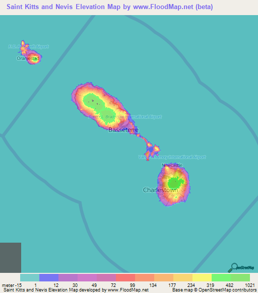Saint Kitts And Nevis Elevation And Elevation Maps Of Cities - Saint kitts and nevis map