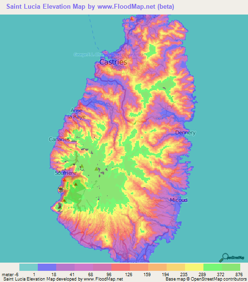 Saint Lucia Elevation And Elevation Maps Of Cities Topographic - Saint lucia map