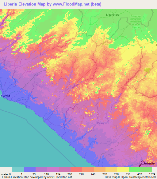 Liberia Elevation and Elevation Maps of Cities, Topographic ...