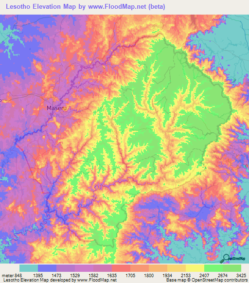 Lesotho Elevation And Elevation Maps Of Cities Topographic Map - Lesotho map