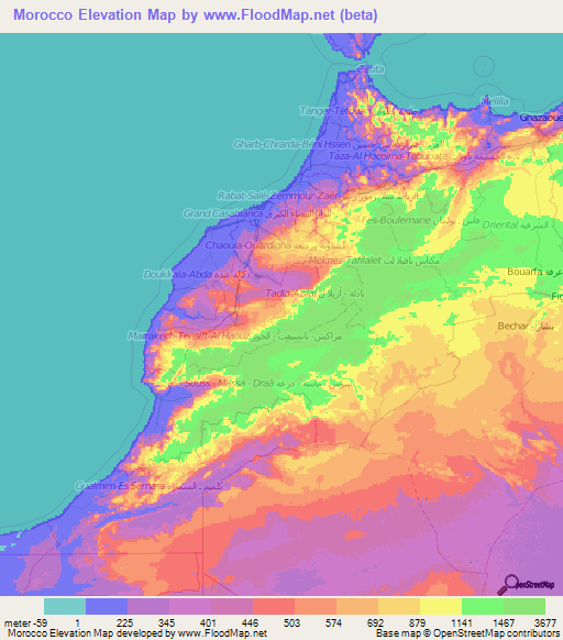 Morocco Elevation And Elevation Maps Of Cities Topographic Map - Map of morocco