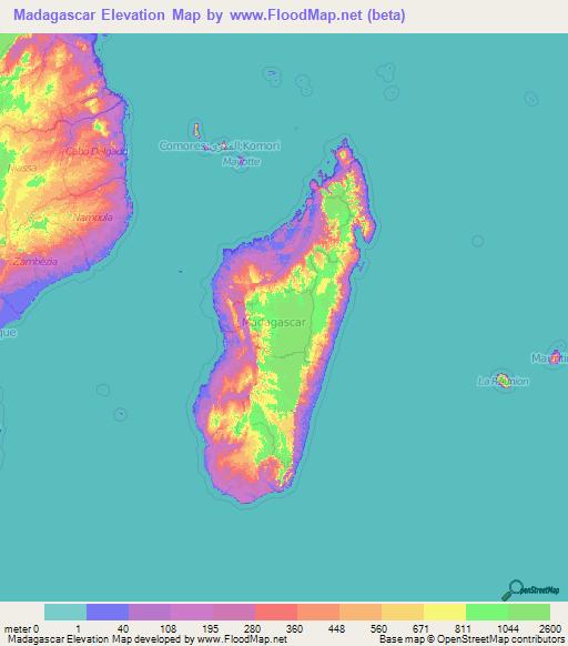 Topographic Map Of Madagascar.Madagascar Elevation And Elevation Maps Of Cities Topographic Map