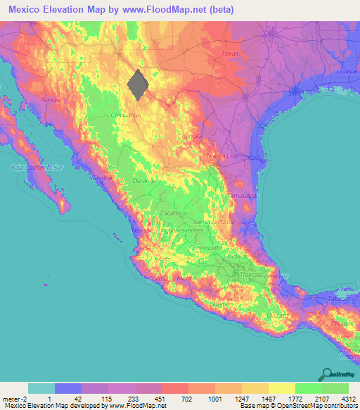 Mexico Elevation and Elevation Maps of Cities, Topographic ...