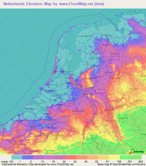 Netherlands Elevation And Elevation Maps Of Cities Topographic - Altitude above sea level map