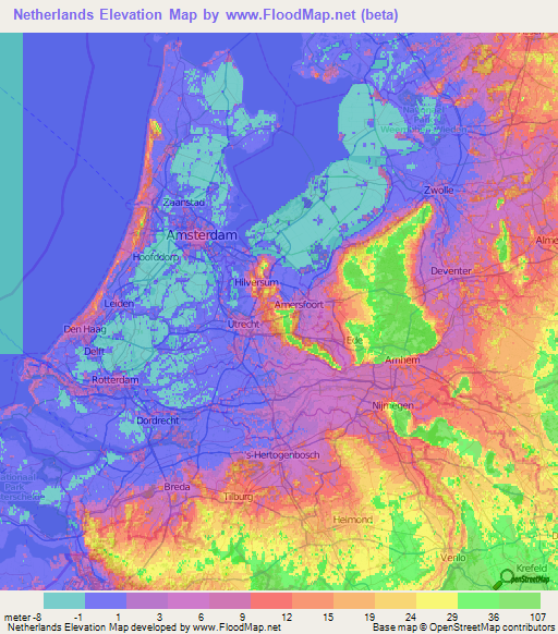 Netherlands Elevation and Elevation Maps of Cities, Topographic Map ...