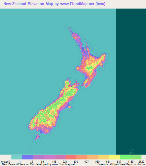Topographic Map Of New Zealand.New Zealand Elevation And Elevation Maps Of Cities Topographic Map
