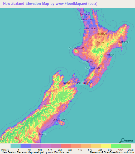 Map Of New Zealand Auckland.New Zealand Elevation And Elevation Maps Of Cities Topographic Map