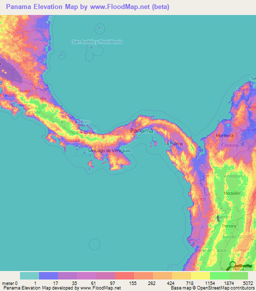 panama elevation and elevation maps of cities  topographic map contour