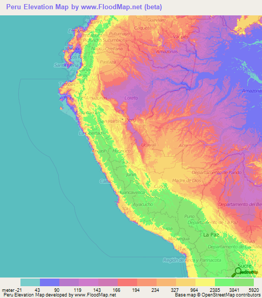 Peru Elevation and Elevation Maps of Cities, Topographic Map ...