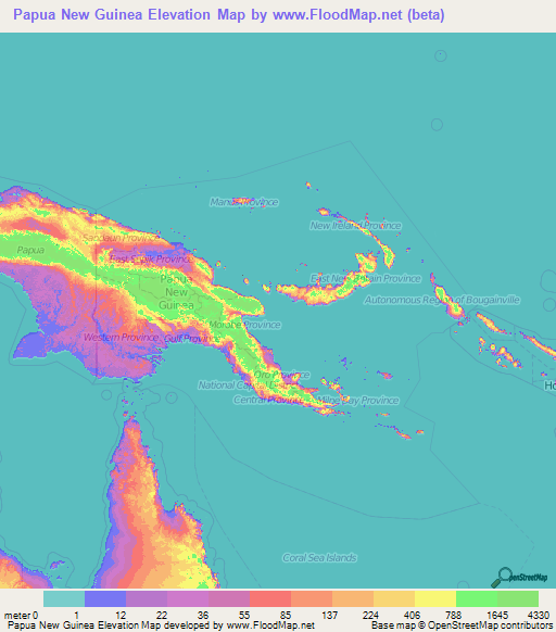 Papua New Guinea Elevation and Elevation Maps of Cities ...