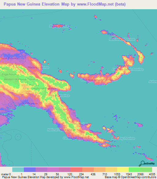 Papua New Guinea Elevation And Elevation Maps Of Cities - Papua new guinea map