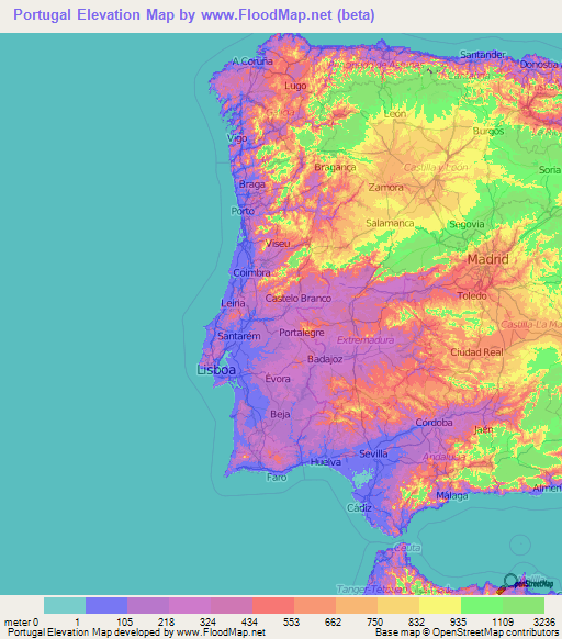 Portugal Elevation And Elevation Maps Of Cities Topographic Map - Portugal map