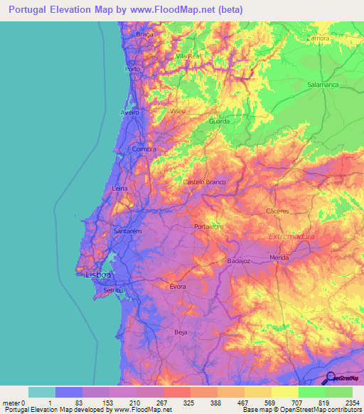 Portugal Elevation And Elevation Maps Of Cities Topographic Map - Portugal map coimbra