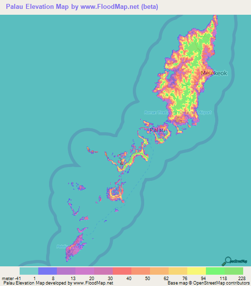 Palau Elevation And Elevation Maps Of Cities Topographic Map Contour - Palau map