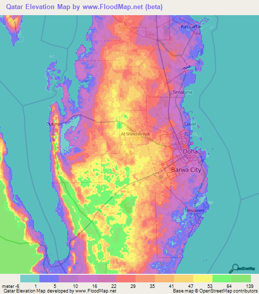 Qatar Elevation and Elevation Maps of Cities Topographic Map Contour