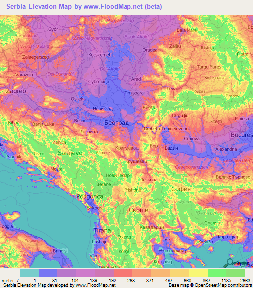 Serbia Elevation And Elevation Maps Of Cities Topographic Map Contour - Map of serbia
