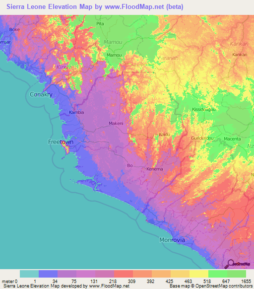 Sierra Leone Elevation And Elevation Maps Of Cities Topographic - Sierra leone map
