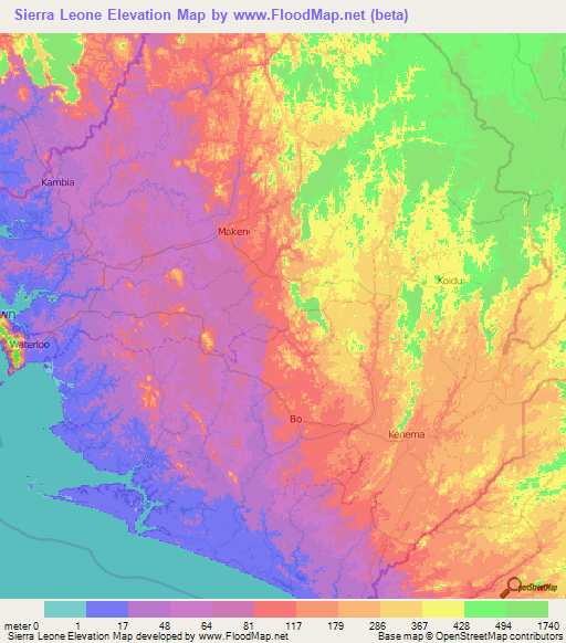 Sierra Leone Elevation and Elevation Maps of Cities, Topographic Map ...