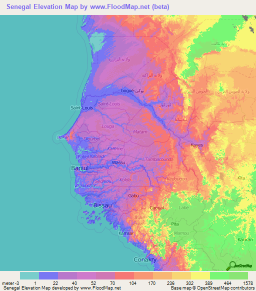 Senegal Elevation And Elevation Maps Of Cities Topographic Map - Senegal map
