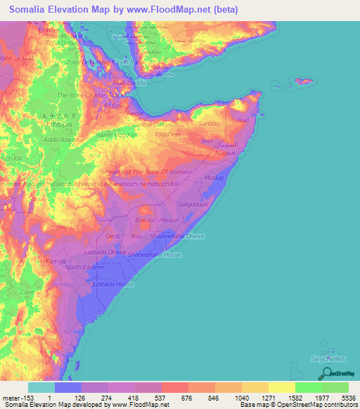 Somalia Elevation and Elevation Maps of Cities Topographic Map Contour