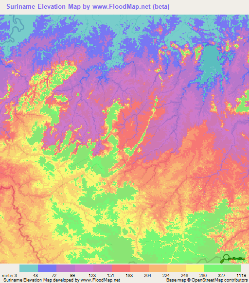 Suriname Elevation And Elevation Maps Of Cities Topographic Map - Suriname map
