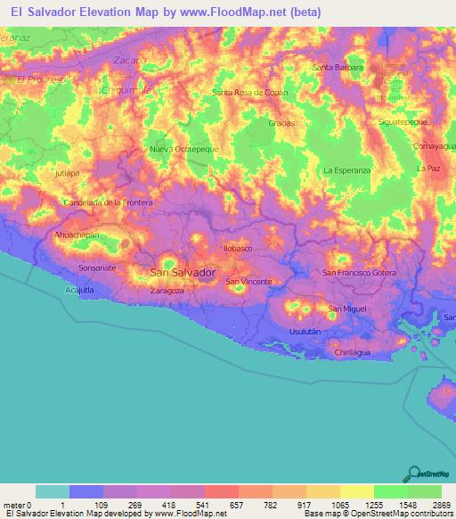 El Salvador Elevation And Elevation Maps Of Cities Topographic - Cities map el salvador map