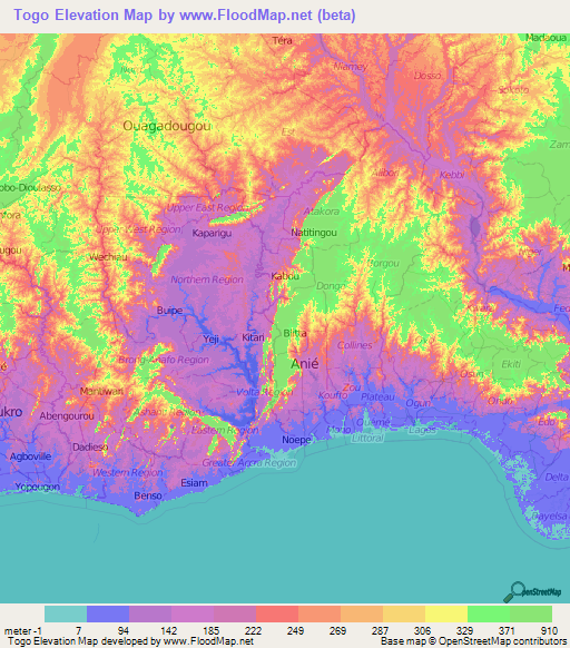 Togo Elevation And Elevation Maps Of Cities Topographic Map Contour - Togo map