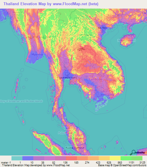 Thailand Topographic Map.Thailand Elevation And Elevation Maps Of Cities Topographic Map Contour