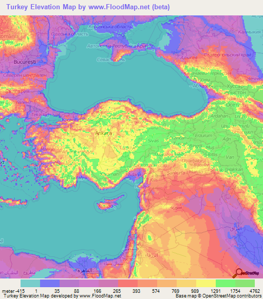 Turkey Elevation And Elevation Maps Of Cities Topographic Map Contour - Map of turkey