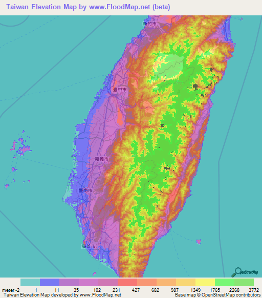 Taiwan Elevation And Elevation Maps Of Cities Topographic Map Contour - Map of taiwan
