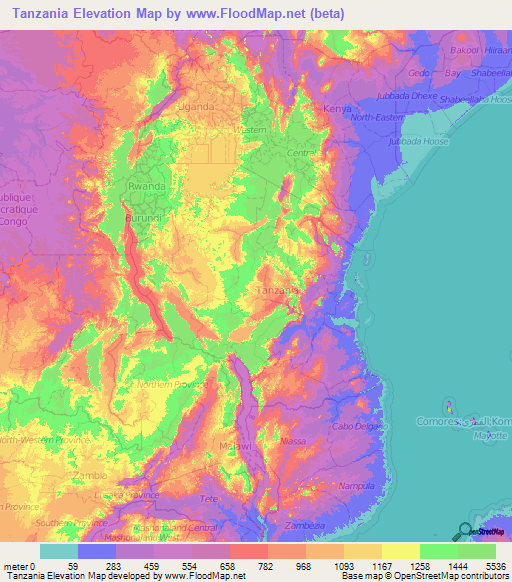 Tanzania Elevation And Elevation Maps Of Cities Topographic Map - Map of tanzania
