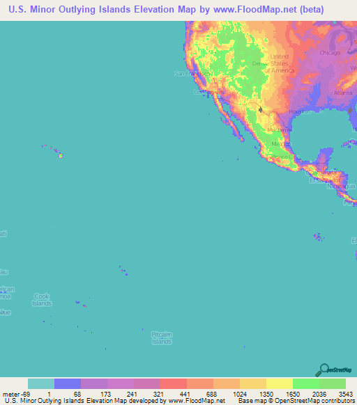 United States Minor Outlying Islands Elevation and Elevation Maps of ...