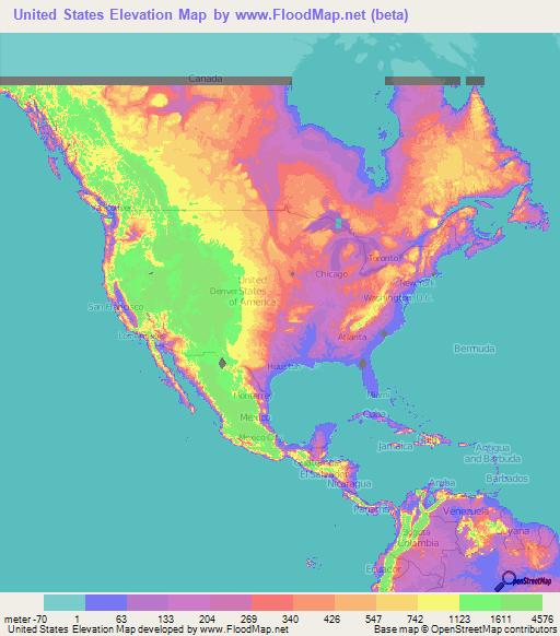 Elevation Map Of Us US Elevation and Elevation Maps of Cities, Topographic Map Contour