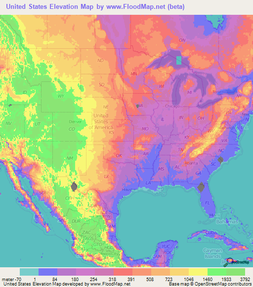 US Elevation And Elevation Maps Of Cities Topographic Map Contour - Elevation map of us