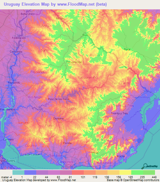 Uruguay Elevation And Elevation Maps Of Cities Topographic Map - Map of uruguay