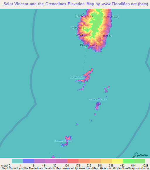 Saint Vincent And The Grenadines Elevation And Elevation Maps Of - Saint vincent and the grenadines map