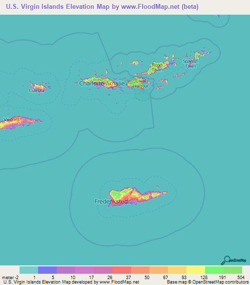U.S. Virgin Islands Elevation and Elevation Maps of Cities ...