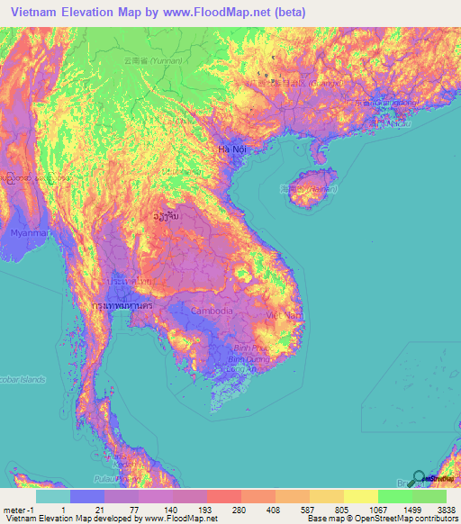 Vietnam Elevation and Elevation Maps of Cities, Topographic Map Contour