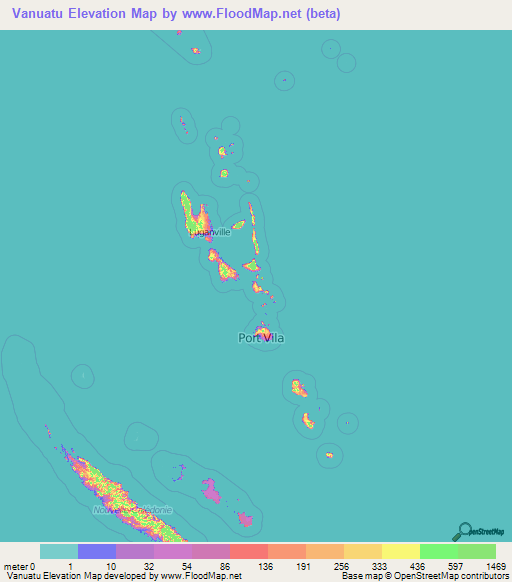 Vanuatu Elevation And Elevation Maps Of Cities Topographic Map - Vanuatu map