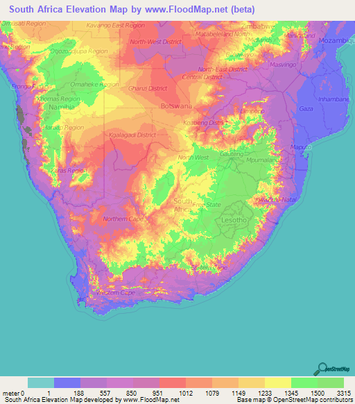 South Africa Elevation and Elevation Maps of Cities, Topographic