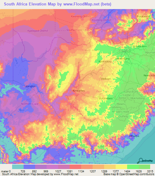 south africa elevation map South Africa Elevation And Elevation Maps Of Cities Topographic