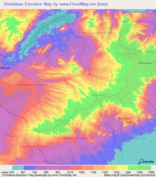 Topographic Map Zimbabwe.Zimbabwe Elevation And Elevation Maps Of Cities Topographic